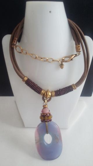 Collar+aretes -piedra Lila Dorado-