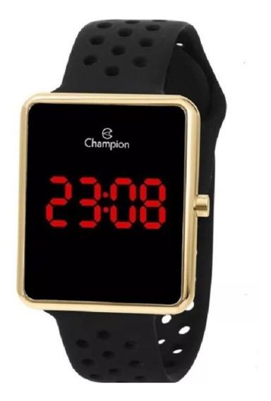 Relógio Feminino Dourado Champion Digital Pulseira Silicone