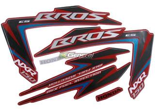 Kit Adesivo Jogo Faixas Moto Honda Bros 150 2012 Es Vermelha