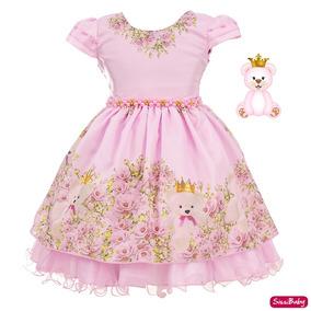 Vestido Ursa Rosa Infantil Princesa Baby Festa Luxo 1 A 3