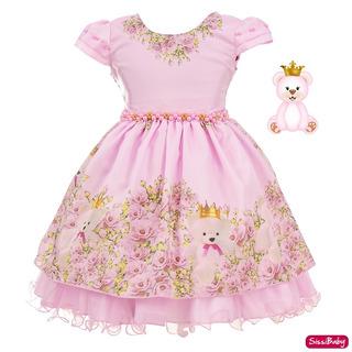 Vestido Ursa Rosa Infantil Princesa Baby Festa Luxo