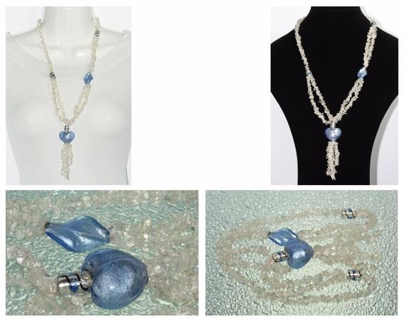 Collar Largo De Piedra Natural Dama Cuarzo Cristal Ccpn229