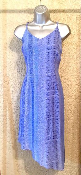 Vestido De Tiros Ajustables Azul Estampado Talla 6