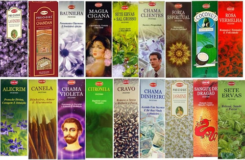 Imagem 1 de 7 de Incenso Indiano Hem 25 Caixas 8 Varetas De Aromas Variados