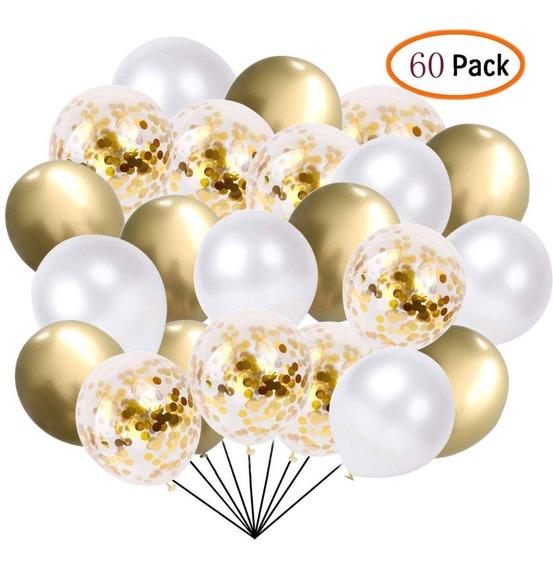 Globos Dorados Blancos Y Confetti Dorado 12 Pulgadas Set 60
