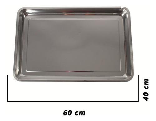 Bandeja Assadeira Frango Rentagular Aço Inox 60x40x4,3cm