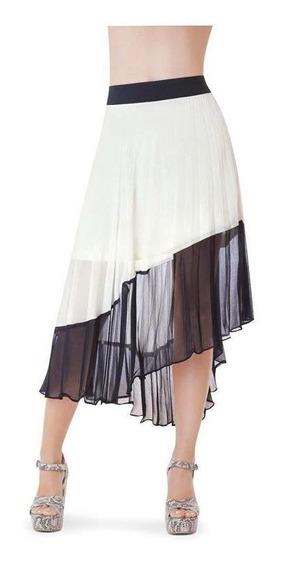 Falda Dama Blanco / Negro Devendi Plisado
