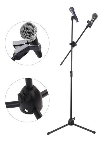Soporte Pedestal Base De Micrófono Doble De Metal, Negro