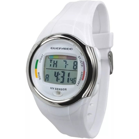 Relógio Digital Guepardo Ultravioleta Uv Master White