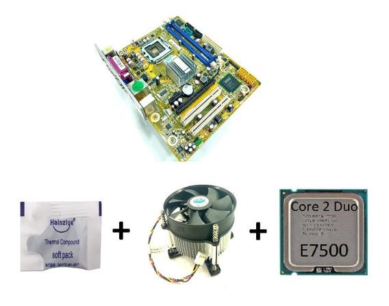 Kit Placa Mãe Ipm41-d3 775 Ddr3 + Core 2 Duo E7500