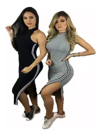 Vestido Regata Midi Gola Alta Canelado Listra Lateral 2019