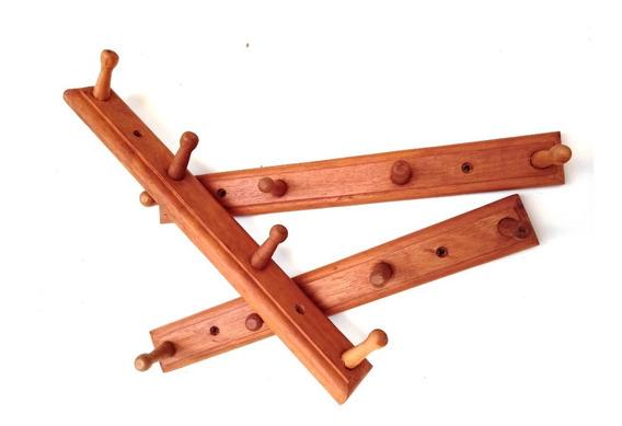 Cabides De 4 Ganchos De Madeira Kit Com 3 Unidades