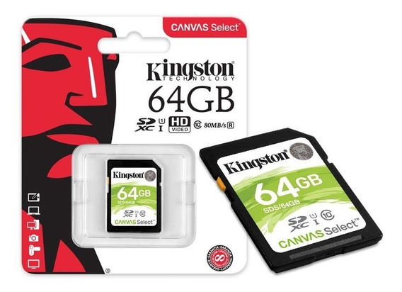 Cartão Memória Sdxc 64gb Canvas Select Sds/64gb - Kingston