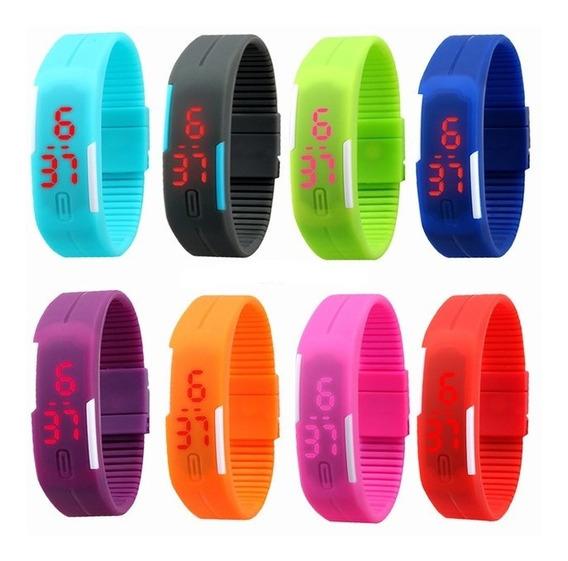 Relogio Sport Led Silicone Color Led Cores Variadas