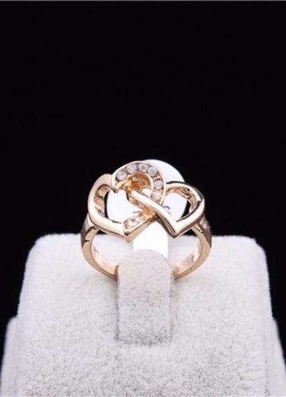 Anel Coração Amor Casal Ouro 18k Strass