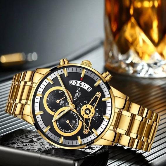 Relógio Nibosi Masclino Promoção Aço Inox + Caixa