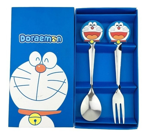 Talher Infantil Doraemon Azul Com Colher E Garfo