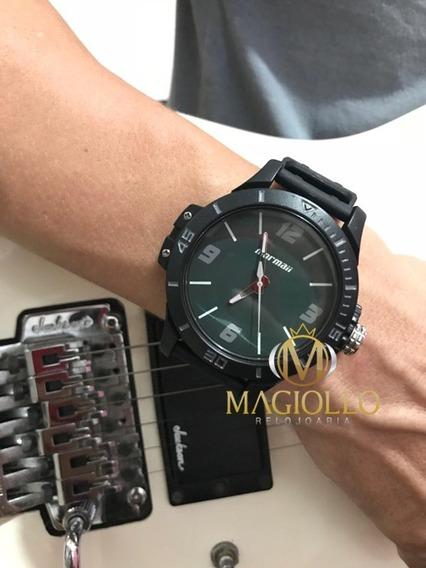 Relógio Masculino Mormaii Mo2035fl/8v Borracha Preto E Verde Original