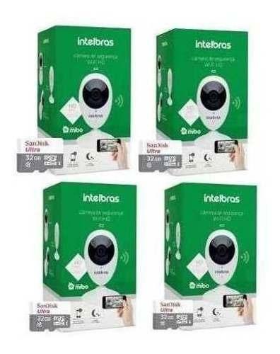 Kit 4un Câmera Ip Intelbras Ic3 Mibo Wifi C/ Cartão 32gb