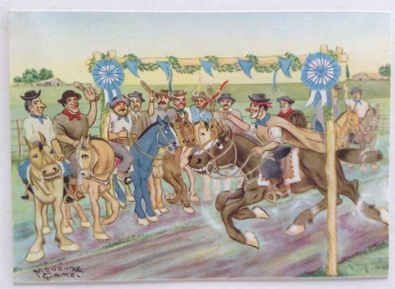 Postal Gauchesca Carrera Sortija Menenez Came 1950