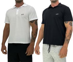 Kit 2 Camisa Polo Casual Mescla Blusa Mxd Piquet Branca Prt