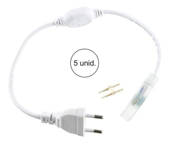 Kit 5 Conector Plug Tomada Fonte Mangueira Led Chata Bivolt