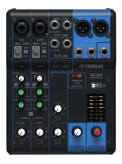 Mesa De Som Yamaha Mg06 Bivolt Com 6 Canais - 2 Entradas De