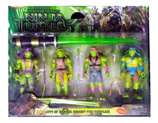 Tortugas Ninja Set Por 4 Muñecos + Armas - Fair Play Toys