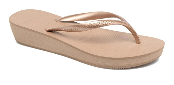 Chinelo Feminino Tamanco Havaianas High Light Rose Gold#