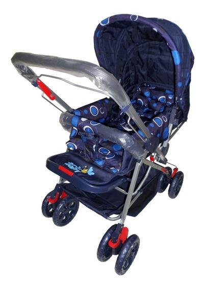 Carrinho De Bebe Vira Berço Alça Reversivel Menino Azul