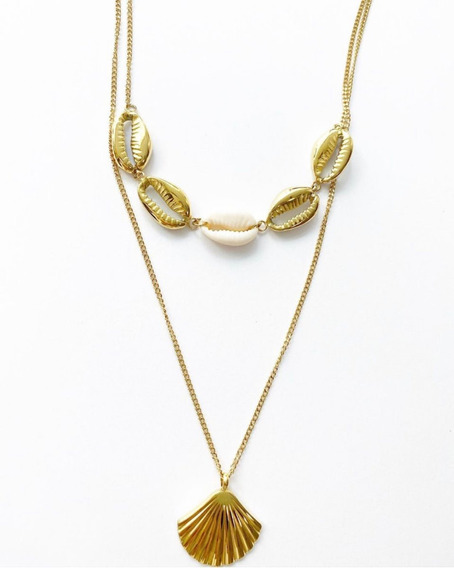 Collar Doble Conchas Dorado Acero Inoxidable Regalo