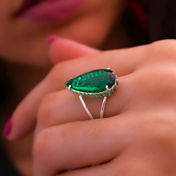 Anel De Prata 925 Com Zircônia Verde Esmeralda