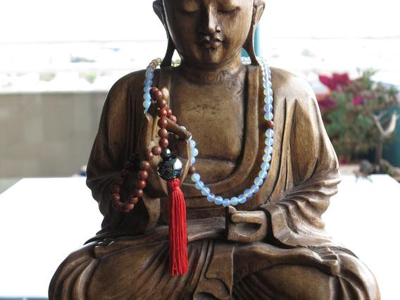 Japamala Gautama, 8mm, Jaspe Poppy E Opalina (pedra Da Lua)