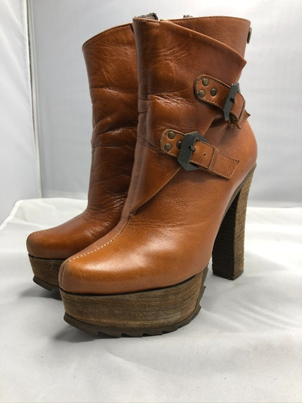 Botas Zapatos Botinetas Mujer Taco Plataforma Cuero