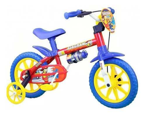 Bicicleta Aro 12 Infantil Menino Nathor Fireman C/ Rodinhas