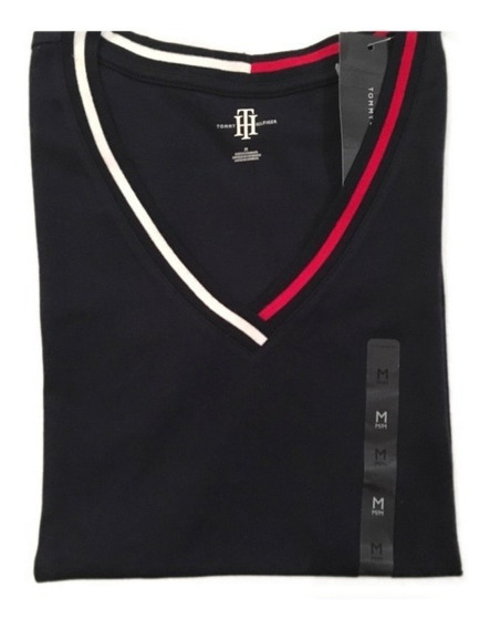 Remeras Tommy Hilfiger C/guarda En Escote V Original Mujer