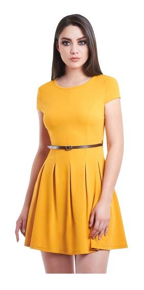 Vestido Corto Amarillo Corte Princesa Cinturón Incluido
