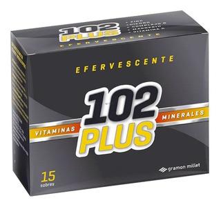102 Plus Efervescente Vitaminas Minerales 15 Sobres Original