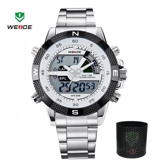Relógio Masculino Weide 1104 Esportivo Militar Analógico Digital Anadigi Cronômetro Pulseira De Aço Inox Grande Original