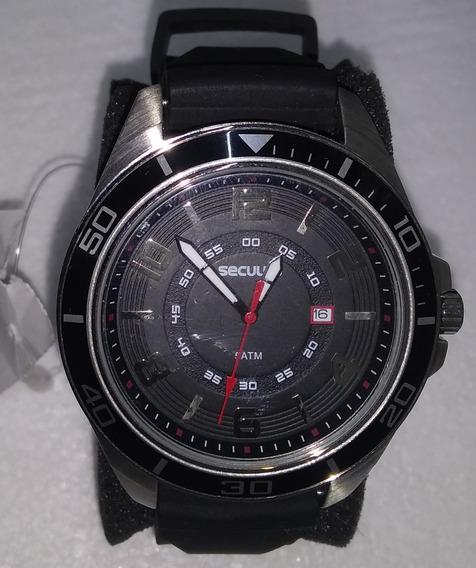 Relógio Seculus Prata Preto Silicone 20363g0svnu1 De Vltrine