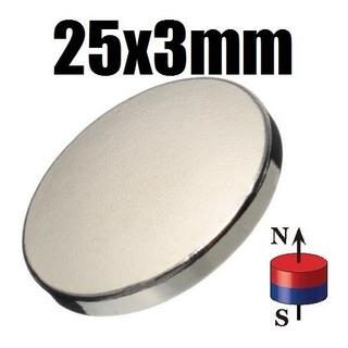 1 Iman Neodimio 25mm X 3mm Biomagnetismo Magneto Redondo Xto
