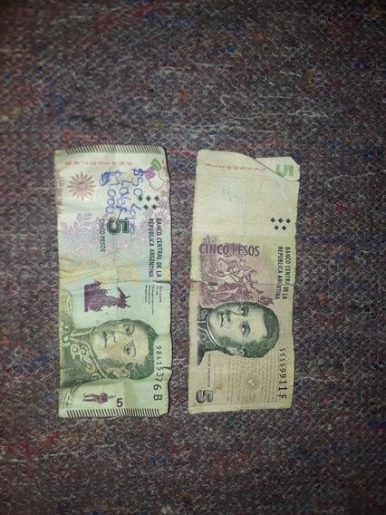 Billetes De 5 Pesos Argentinos De Colección