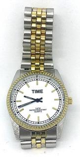 Relojes Time Mod Oyster Metal Combinado 3atm Hombre Liniers