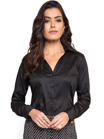 Camisa Social Feminina Preta Principessa Mardjane