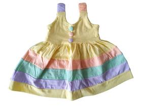 Vestidos E Calcinhas Bebê Menina Colorido Kit 3+3= 6 Peças