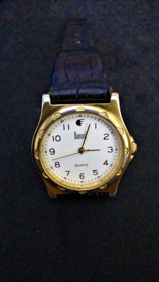 Relógio Dulmont Social Banhado Ouro 23kt Gold Pulseira Couro