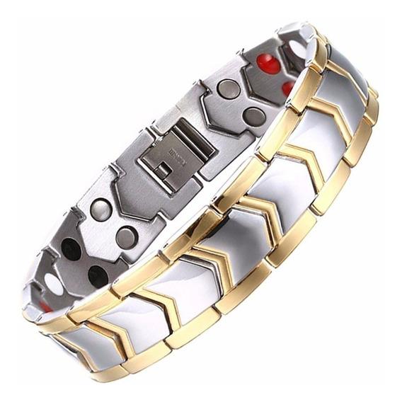 Pulseira Masculina Bracelete Aço Cirúrgico + Ouro 18k - Fr