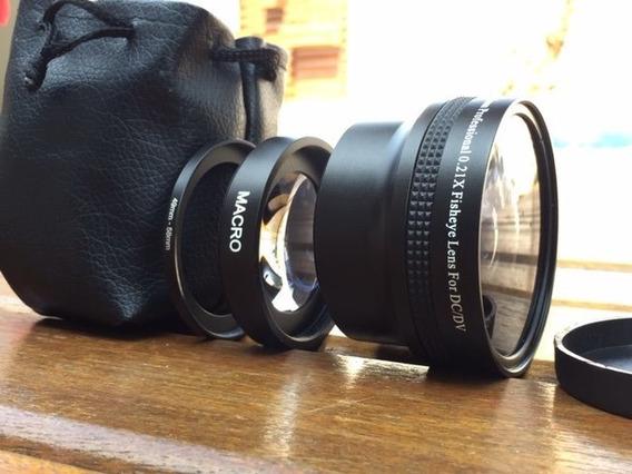 Lente Olho De Peixe Fisheye 0.21+macro+adaptador Para 49mm Ou 58mm For Dc/dv