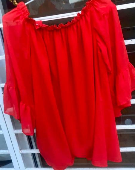 Camisola Roja Con Volados En Las Mangas. Muy Poco Uso