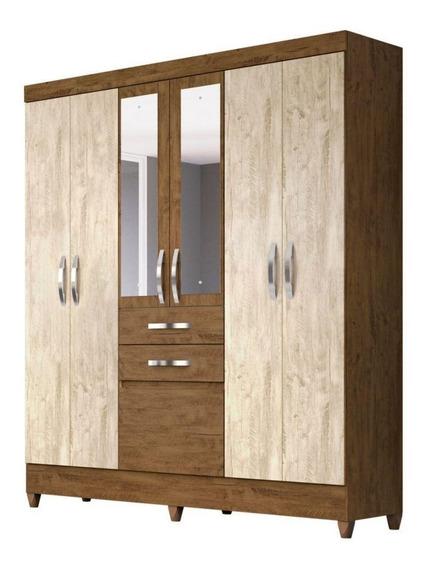 Guarda Roupa Moval New Mafra 7 Portas 2 Gavetas Com Espelho